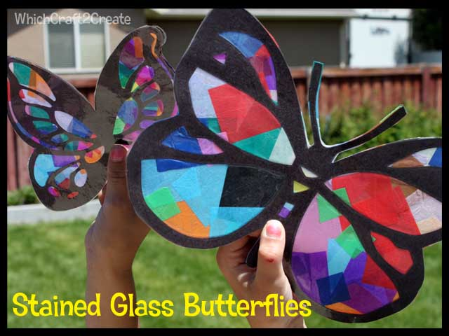 Stained glass butterflies which craft 2 create for Butterfly stained glass craft